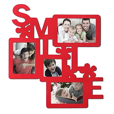 AdecoTrading 4 Opening Decorative Wall Hanging ''Smile'' Collage Picture Frame