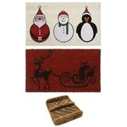 Rubber-Cal, Inc. 3 Piece Christmas Doormat Set (Set of 3)
