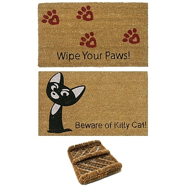Rubber-Cal, Inc. 3 Piece Cat Lovers Doormat Set (Set of 3)