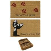 Rubber-Cal, Inc. 3 Piece Cat Lovers Doormat Set (Set of 3)