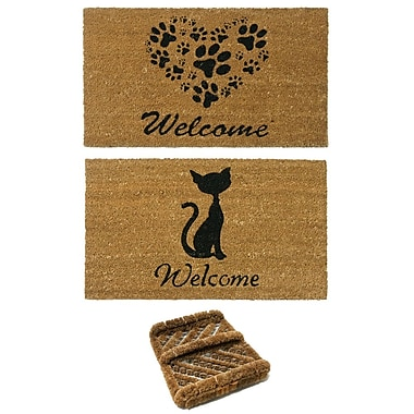 Rubber-Cal, Inc. 3 Piece Animals Doormat Set (Set of 3)