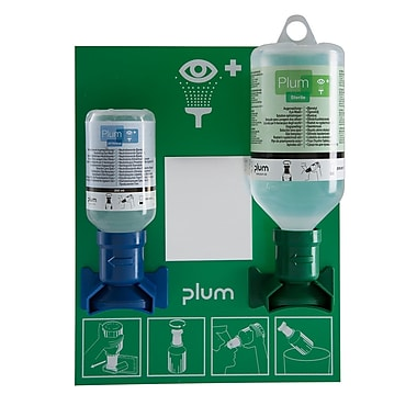 Plum Chemical Open Mount with Mirror Eyewash Station with 200ml Ph Neutral Buffer and a 500 Saline Eyecup Sterile Bottle