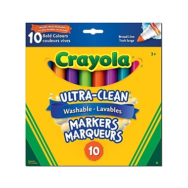 CrayolaMD – Marqueurs à trait large lavables Ultra-Clean, couleurs vives, pqt/10
