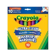 Crayola® Ultra-Clean Washable Broad Line Markers, Bold Colours, 10/Pack