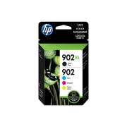 HP 902XL Black High Yield & 902 Cyan, Magenta and Yellow Original Ink Cartridges, 4/Pack (T0A39AN)