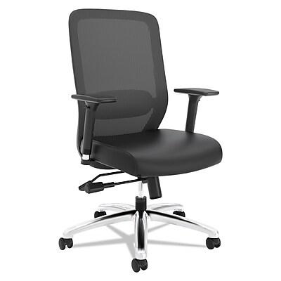 HON Exposure SofThread Leather/Mesh High-Back Task Chair, 2-Way Arms, Black NEXT2018 NEXTExpress