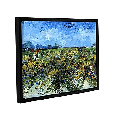 ArtWall Green Vineyard by Vincent Van Gogh Framed Painting Print on Wrapped Canvas; 24'' H x 32'' W