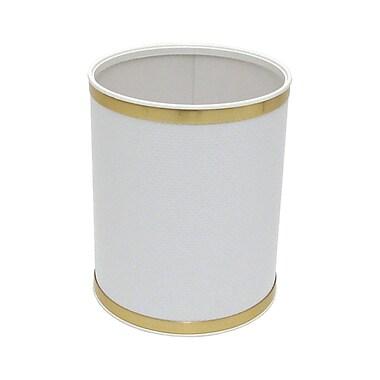 Redmon Bath Jewelry 2 Gallon Waste Basket; White with Chrome Trim