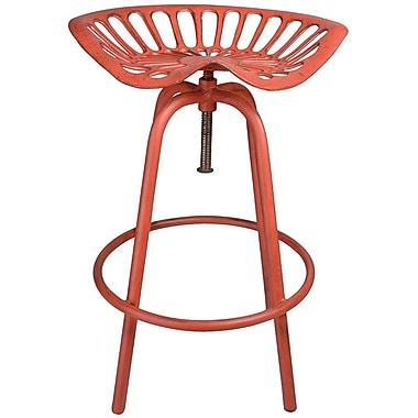 EsschertDesign Industrial Heritage Adjustable Height Swivel Bar Stool; Red