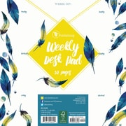 "TF Publishing 7.75"" x 7.75"" Peacock Feathers Weekly Desk Pad (20-0248)"