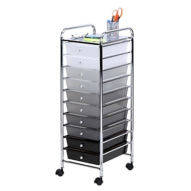 Honey-Can-Do 10-Drawer Cart, Multicolour/Gray, Black, White (CRT-05255)