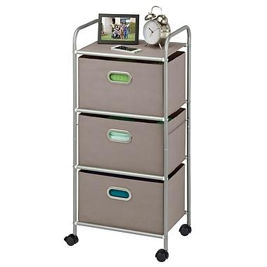 Honey-Can-Do 3 Drawer Rolling Cart, Chrome/Gray (CRT-06248)