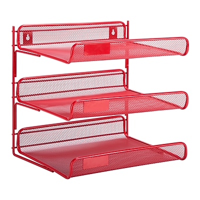 Honey Can Do 3 Tier Mesh Desk Organizer, Red (OFC-04865)