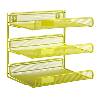 Honey Can Do 3 Tier Mesh Desk Organizer, Green (OFC-04879)