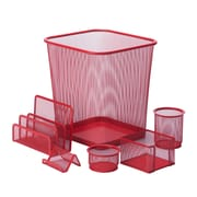 Honey Can Do 6pc Mesh Desk Organization Set, Red (OFC-04880)