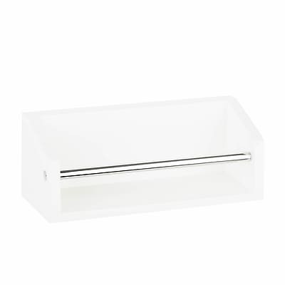 Honey Can Do Wall Shelf with Chrome Hanging Bar, White (SHF-04379)