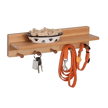 Honey-Can-Do Bamboo Wall Shelf With Hangers, Natural (SHF-04400)