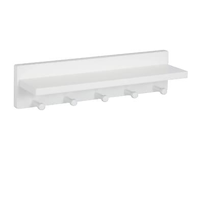 Honey Can Do Wall Shelf with 5 Pegs, White (SHF-04401)