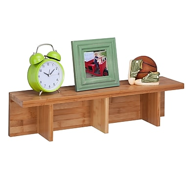 Honey-Can-Do Large Bamboo Sectioned Wall Shelf, Natural (SHF-04404)