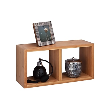 Honey-Can-Do Bamboo Double Cube Wall Shelf, Natural (SHF-04408)