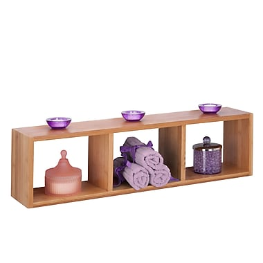 Honey-Can-Do Bamboo Triple Cube Wall Shelf, Natural (SHF-04410)