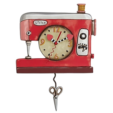 Allen Designs ADP1578 Stitchin' Sewing Machine Clock, Pink