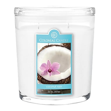 Colonial Candle 22 oz. Oval Jar, Coconut Rain, 1/Pack (CC0222074)