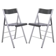 LeisureMod Menno Mo Folding Chair (Set of 2); Transparent Black