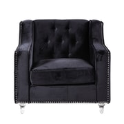 Iconic Home Dylan Silver Nailhead Trim Button Tufted Club Chair; Black