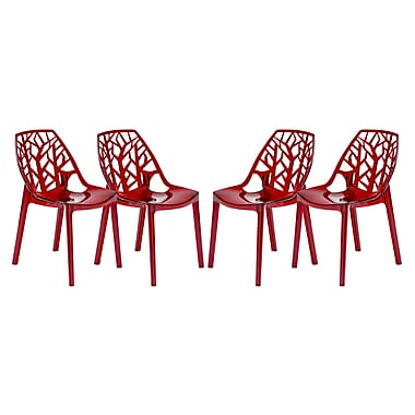LeisureMod Cornelia Side Chair (Set of 4); Transparent Red