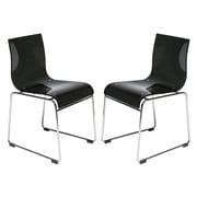 LeisureMod Lima Side Chair (Set of 2); Transparent Black
