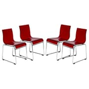 LeisureMod Lima Side Chair (Set of 4); Transparent Red