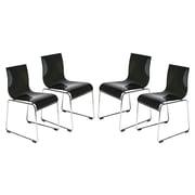 LeisureMod Lima Side Chair (Set of 4); Transparent Black