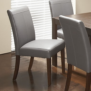Chateau Imports Royal Bonded Leather Upholstered Dining Chair (Set of 2); Gray