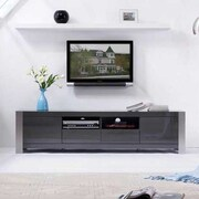 B-Modern Composer TV Stand; Gray High Gloss and Brushed Stainless Steel