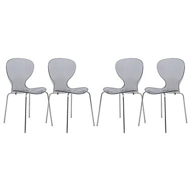 LeisureMod Oyster Side Chair (Set of 4); Transparent Black