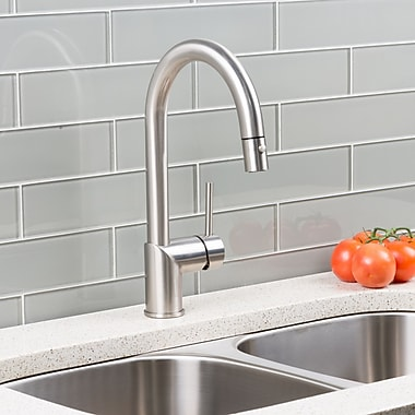 Hahn Deck Mounted Single Handle Pull Down Kitchen Faucet; Stainless Steel