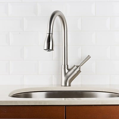 Hahn Pull Down Single Handle Kitchen Faucet; Stainless Steel