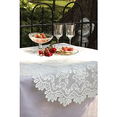 Heritage Lace Rose Round Table Topper; Off White