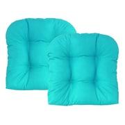 Edie Inc. Sonic Diamond Outdoor Chair Cushion (Set of 2); Aqua