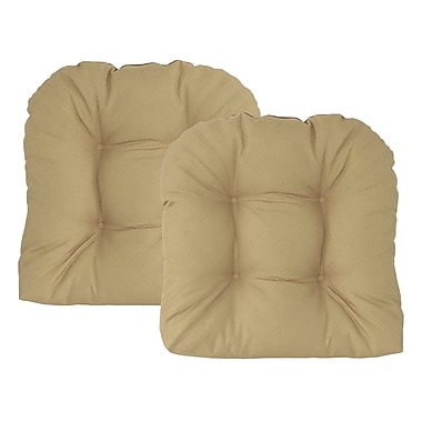 Edie Inc. Sonic Diamond Outdoor Chair Cushion (Set of 2); Khaki