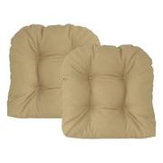 Edie Inc. Sonic Diamond Outdoor Chair Cushion (Set of 2); Khaki