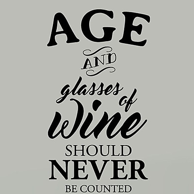 SweetumsWallDecals Age and Glasses of Wine Wall Decal; Black