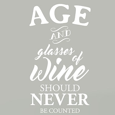 SweetumsWallDecals Age and Glasses of Wine Wall Decal; White