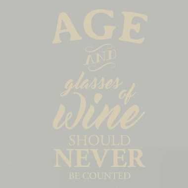 SweetumsWallDecals Age and Glasses of Wine Wall Decal; Beige