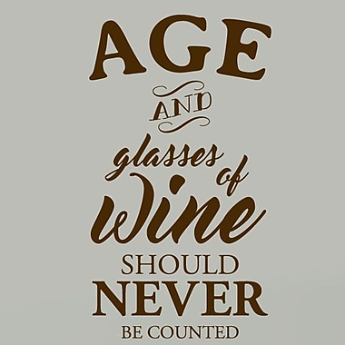 SweetumsWallDecals Age and Glasses of Wine Wall Decal; Brown