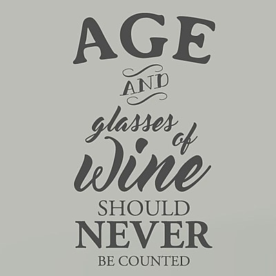 SweetumsWallDecals Age and Glasses of Wine Wall Decal; Dark Gray
