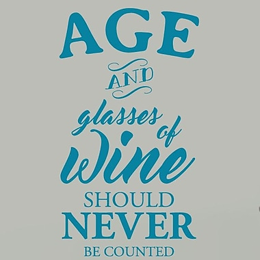 SweetumsWallDecals Age and Glasses of Wine Wall Decal; Teal