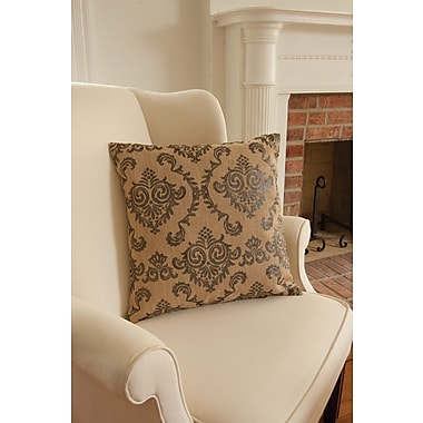Heritage Lace Burlap Damask Pillow Cover; Pewter
