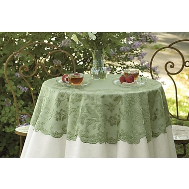Heritage Lace Elizabeth Round Table Topper; Silver Sage